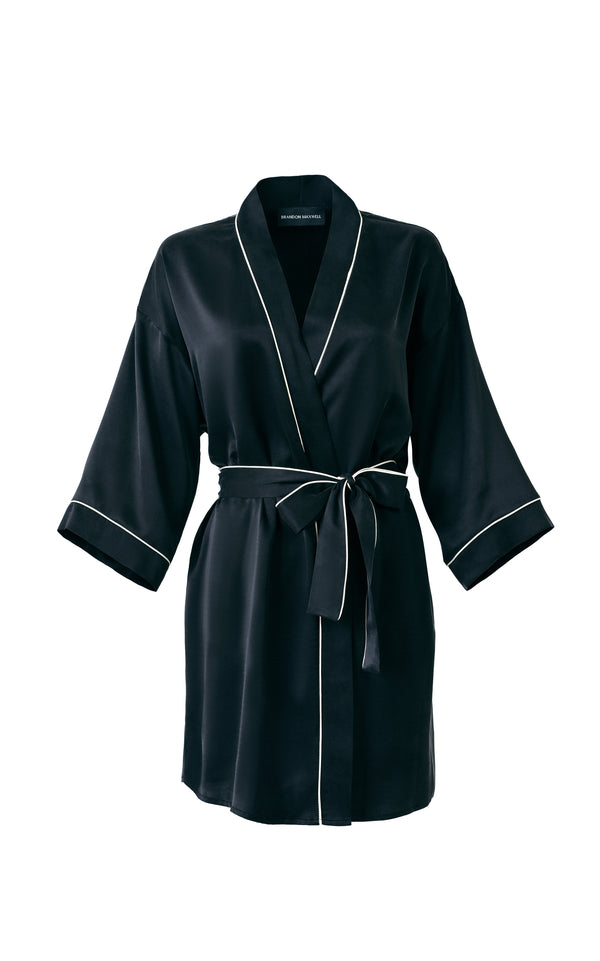 Silk Robe With Piping Detail & Custom Monogramming