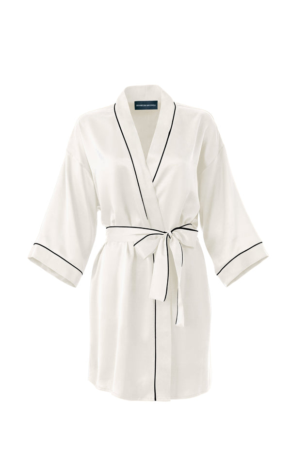 Silk Robe With Piping Detail & Custom Monogramming - BRANDON MAXWELL