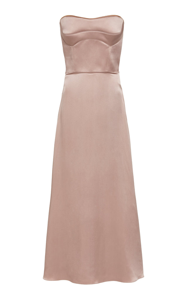Sueded Charmeuse Bustier Dress with Zip Off Top - BRANDON MAXWELL