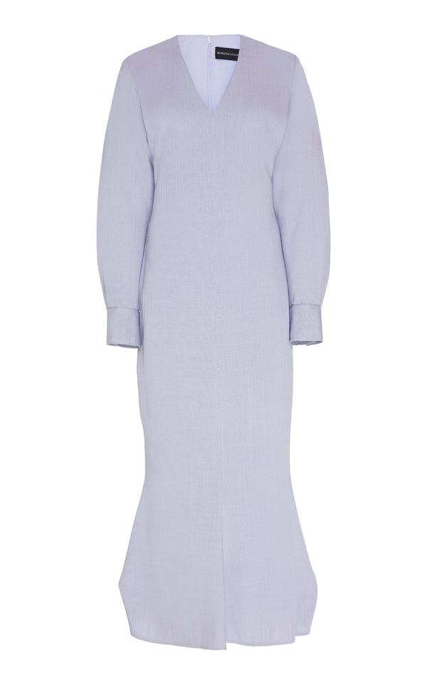 V-Neck Dress with Blouson Sleeves - BRANDON MAXWELL