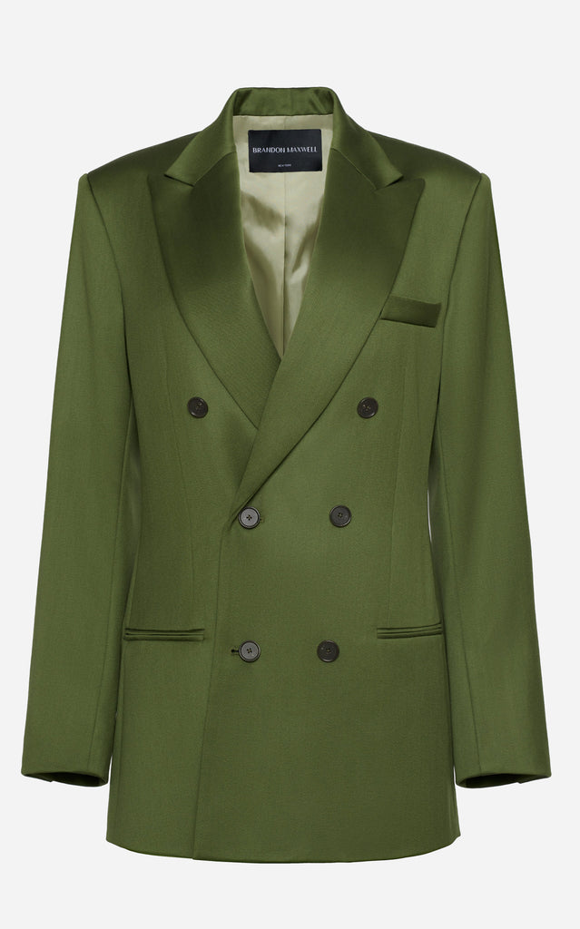 Wool Satin Faille Double Breasted Jacket with Peak Lapel - BRANDON MAXWELL