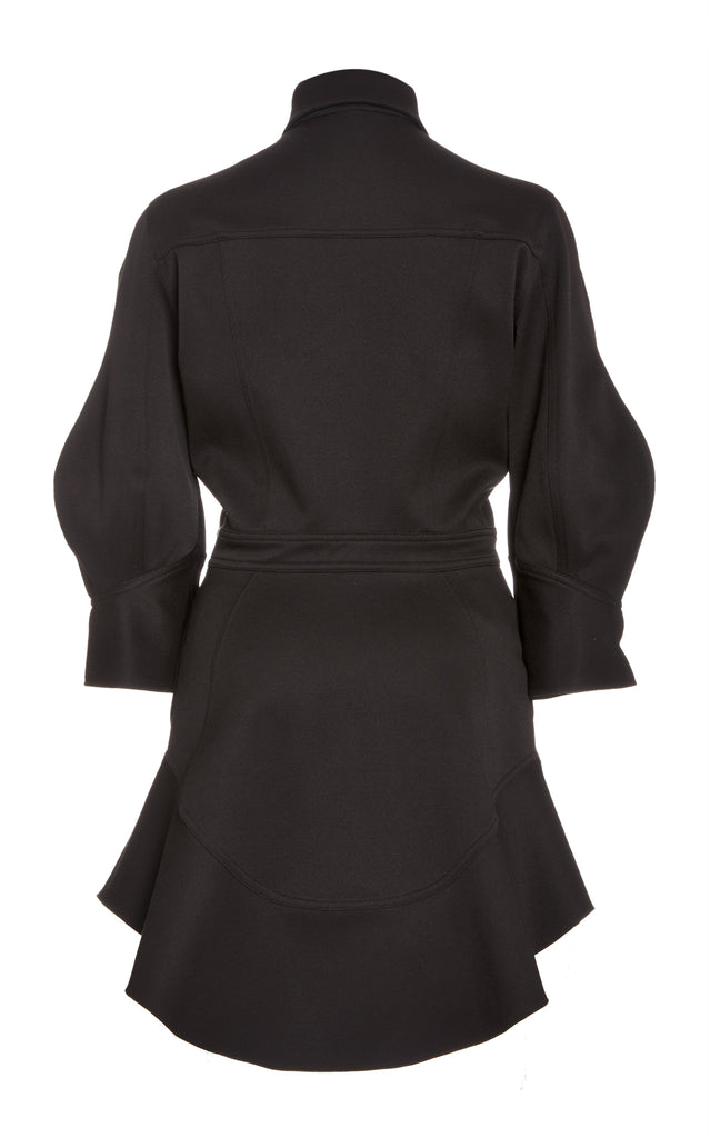 Pique Button Down Dress with Flutter Hem - BRANDON MAXWELL