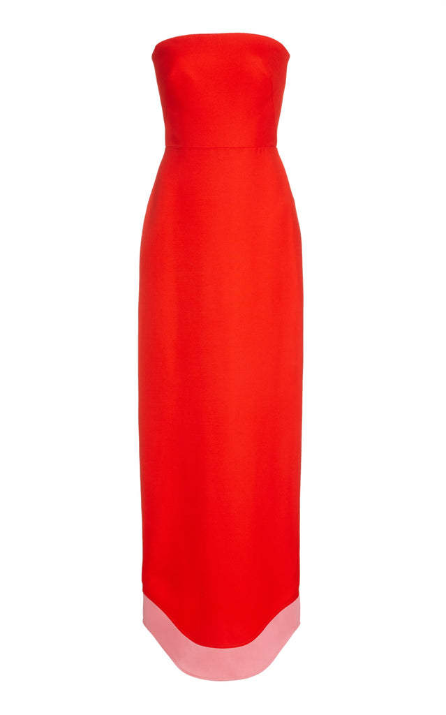 Classic Woven Strapless Dress with Curved Hem - BRANDON MAXWELL
