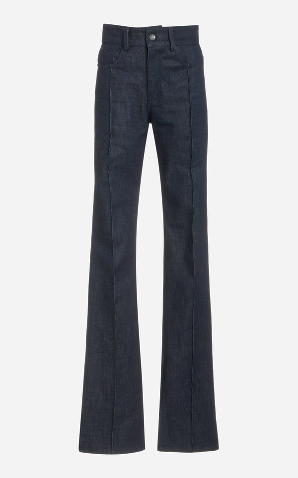 High Rise Jeans with Flare and Pintuck