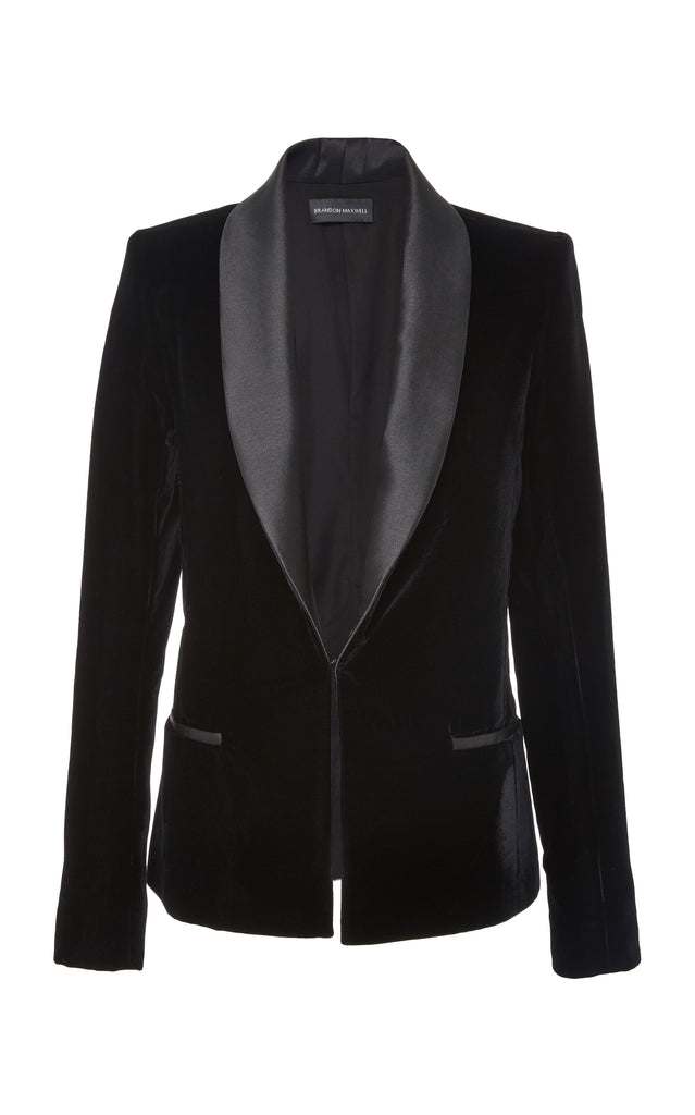 Velvet Tuxedo Jacket with Satin Lapels - BRANDON MAXWELL