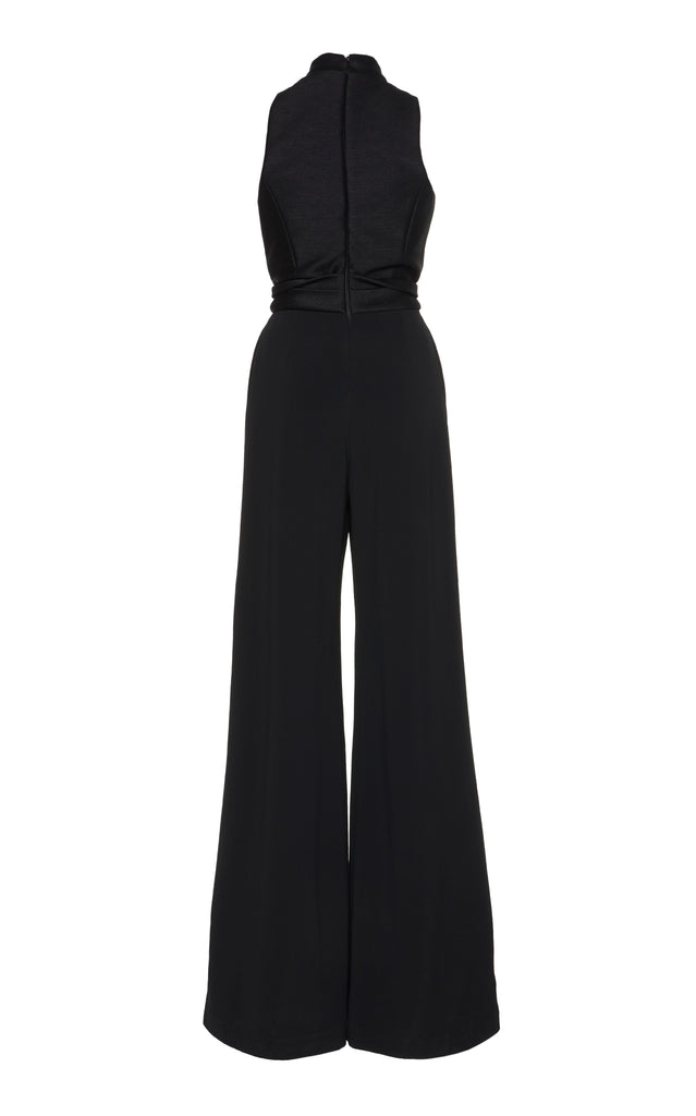 Corvo and Crepe Jumpsuit with Collared Neckline - BRANDON MAXWELL