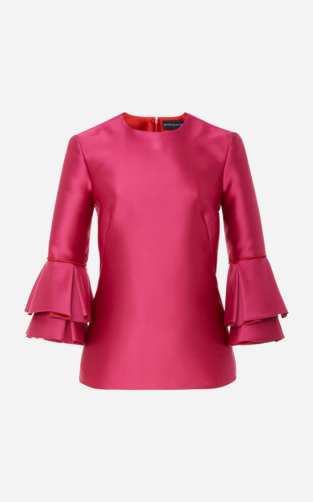 Satin Blouse with Bell Sleeves - BRANDON MAXWELL
