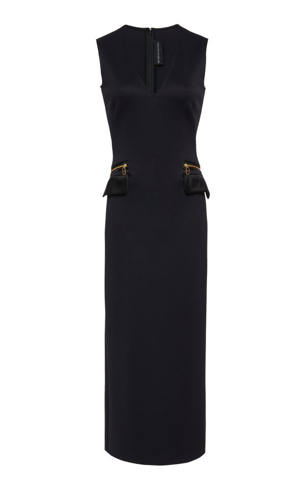 Neoprene Sheath Dress with Zip Pockets - BRANDON MAXWELL
