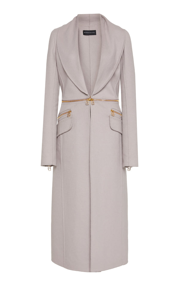 Wool Coat with Detachable Zip Waist - BRANDON MAXWELL