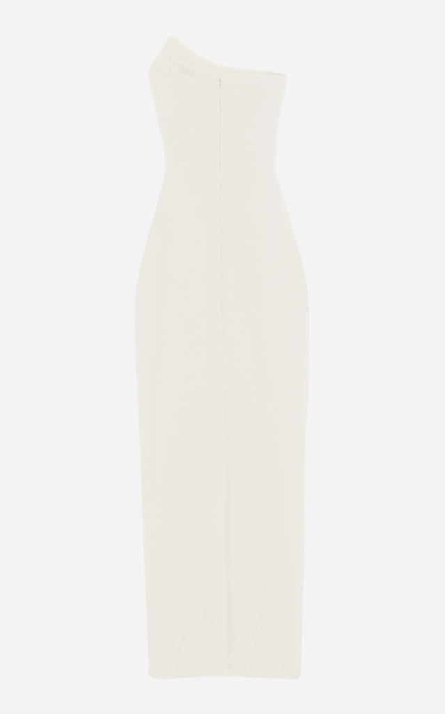 Wool One-Shoulder Gown with Cutout Detail Ivory - BRANDON MAXWELL