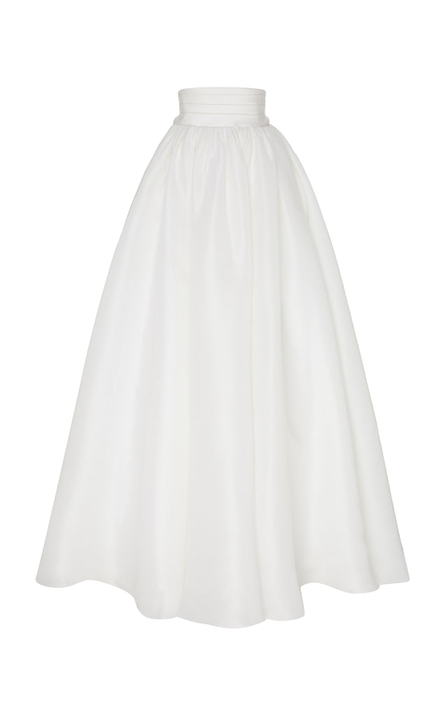 Silk Gazaar Ball Skirt with Satin Cummerbund Waist - BRANDON MAXWELL