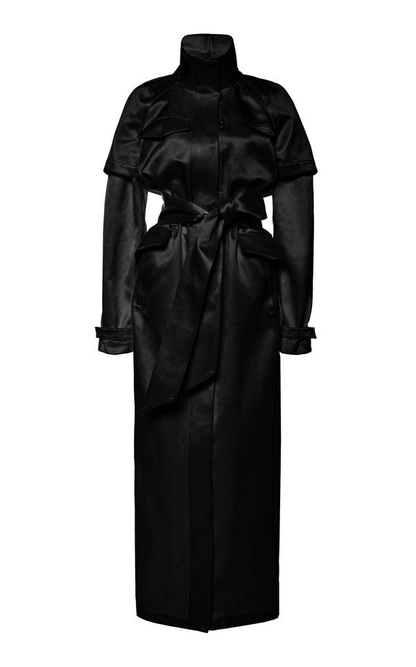 Dual Satin Evening Trench Coat - BRANDON MAXWELL