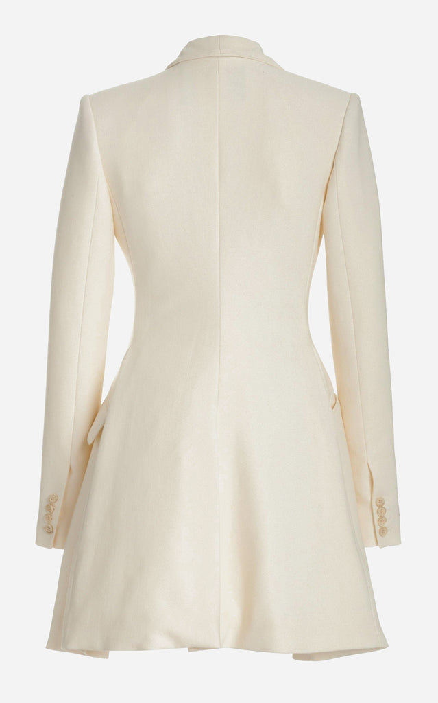 Wool Satin Jacket Dress with Foldover Neckline - BRANDON MAXWELL
