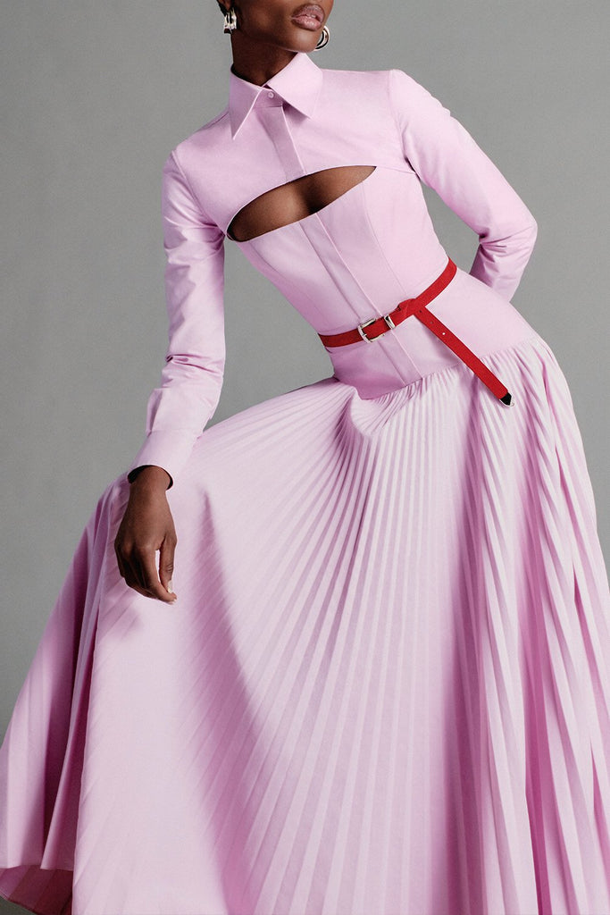 Cotton Dress with Pleated Skirt and Removable Bolero - BRANDON MAXWELL