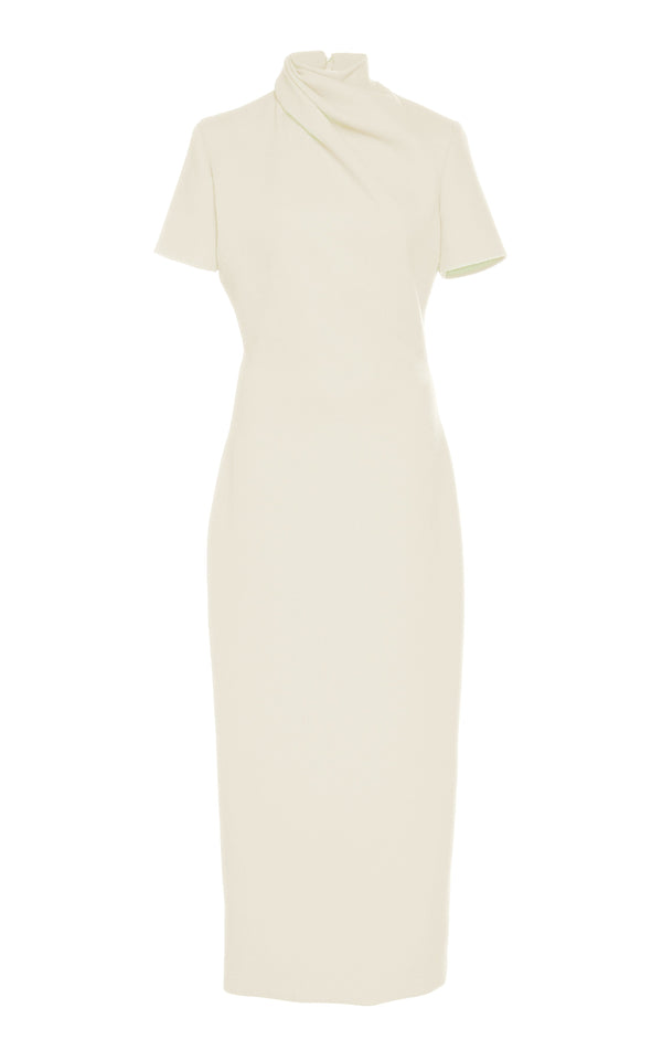 Wool Crepe Cap Sleeve Sheath Dress with Draped Neck - BRANDON MAXWELL