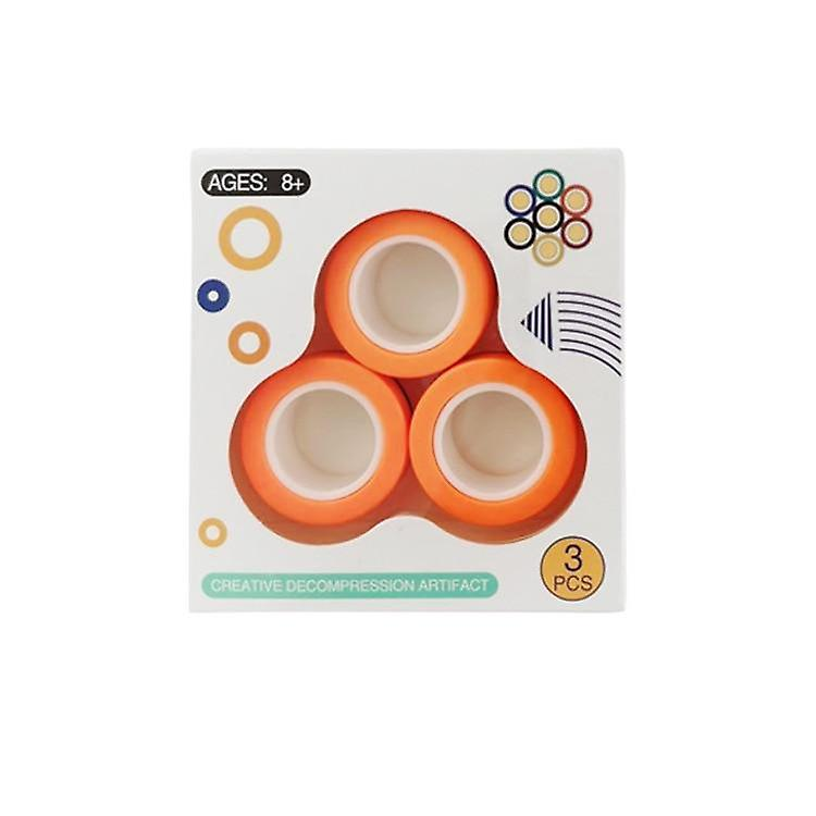 Fidget magnetisk ringe - 3 Pak - Orange - 123Marked