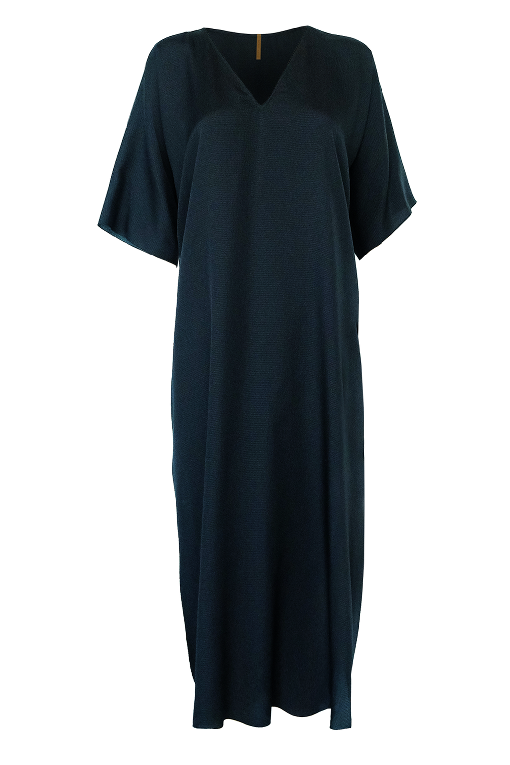 Silk Seersucker Caftan - Black