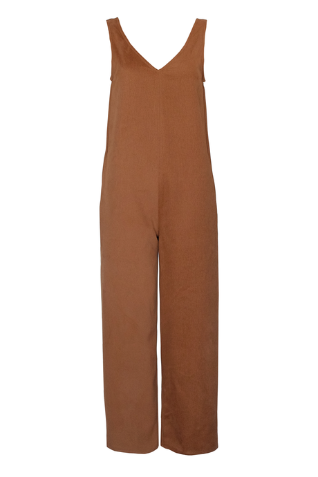 Heavy Cotton Twill Jumpsuit - Caramel