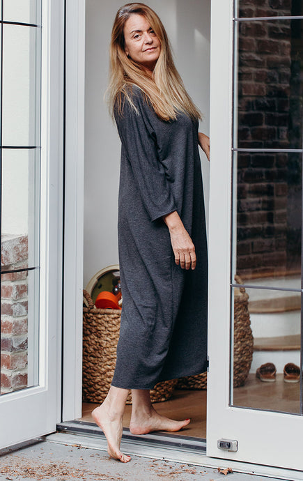 French Terry Jersey Caftan - Coal