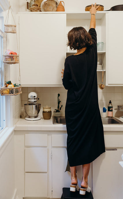 Cotton Rib Caftan - Black