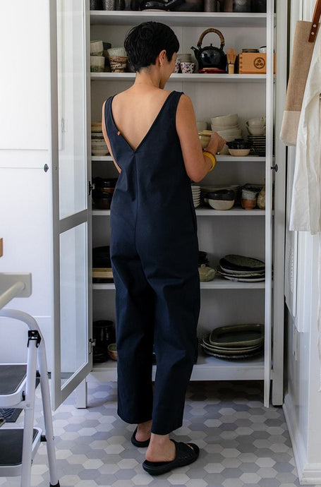 Canvas Stretch Jumpsuit - Navy