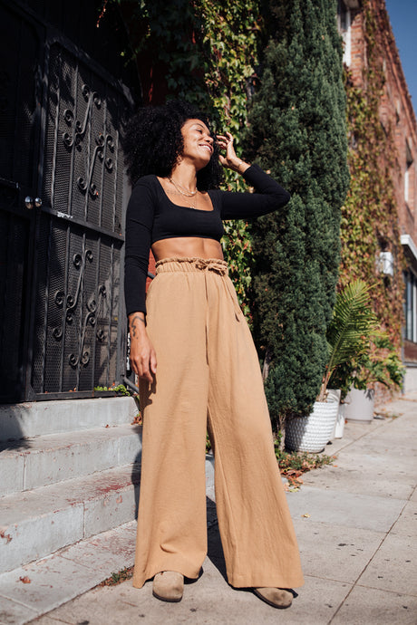 Cotton Paperbag Lounge Pants - Ochre