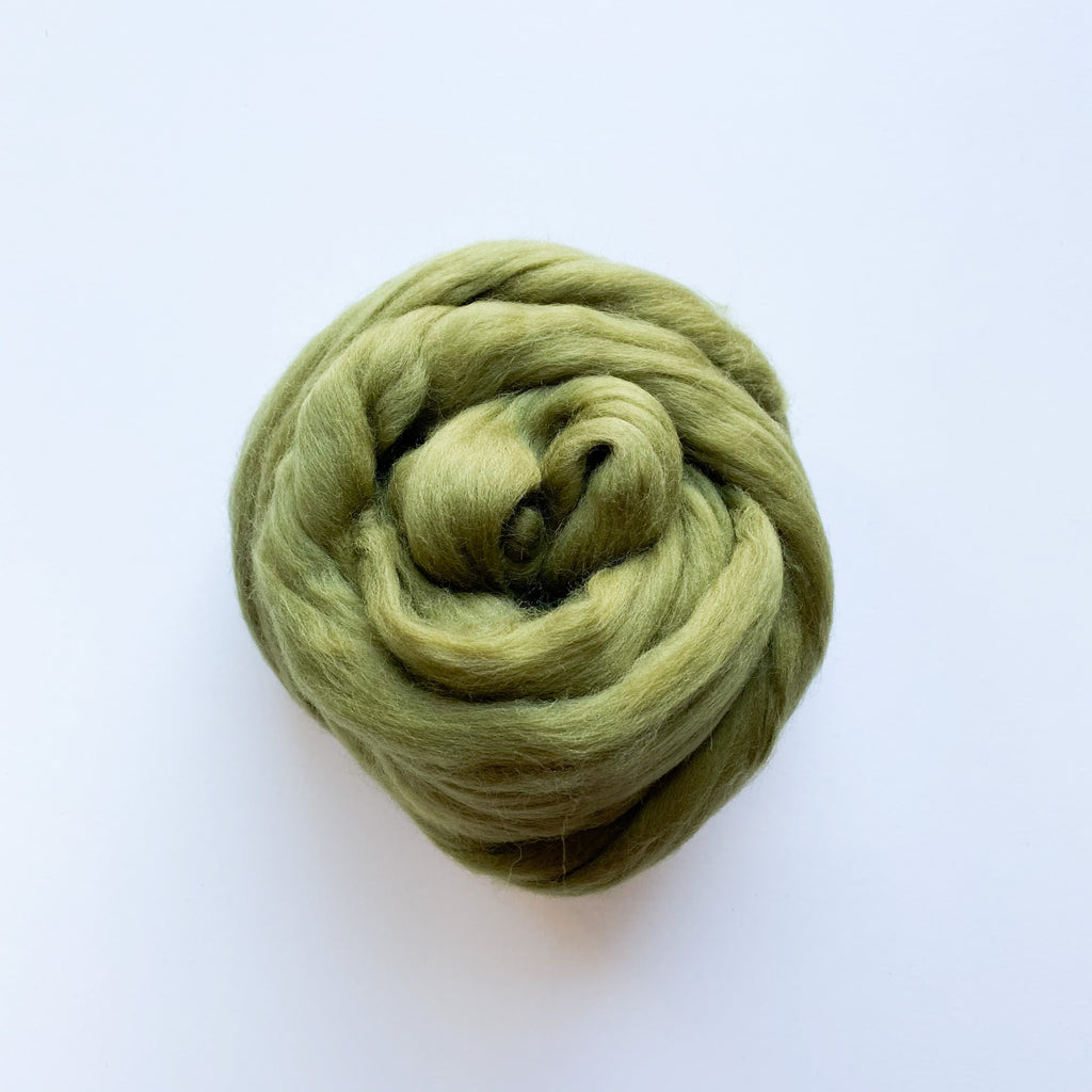 Extra Fine Merino Wool Roving Olive