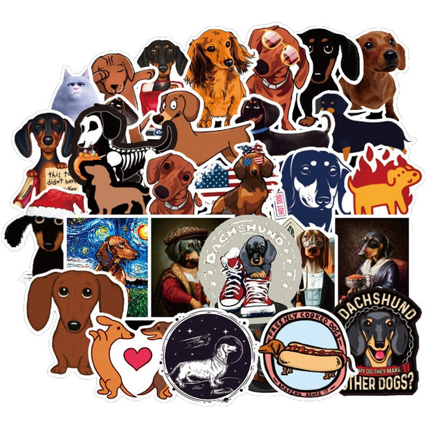 50 PCS Dachshund Dog Sticker Waterproof Laptop / Suitcase /Skateboards