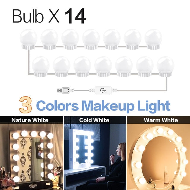 3 Modes Colors Makeup Mirror Light Led Touch Dimming Vanity USB 12V