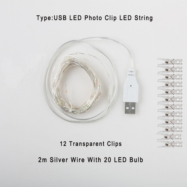 PHOTO CLIPS STRING LED USB/BATTERY