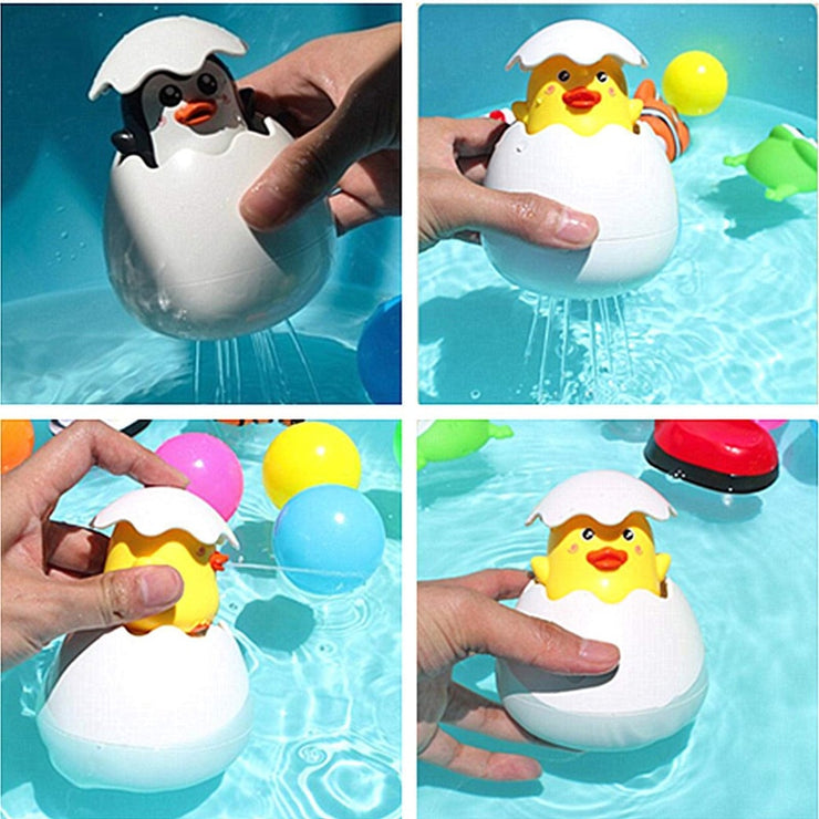 BATHING DUCK AND PENGUIN EGG SPRINKLING SHOWER