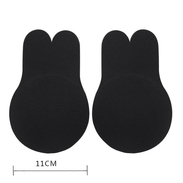 2pcs/1 Pair Rabbit Ear Reusable Silicone Bust Nipple Cover Pasties Stickers Breast Adhesive Invisible Bra Lift Tape