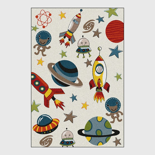 Universe Spaceship Carpet For Bedroom Anti Slip