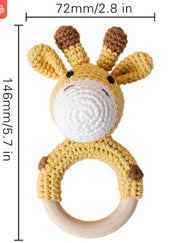 Wooden Teether Crochet Giraffe Rattle Toy BPA Free Wood