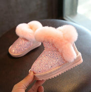 VALENTINE PINK BOOTS WITH SEQUINS AND FAUX FUR LINED