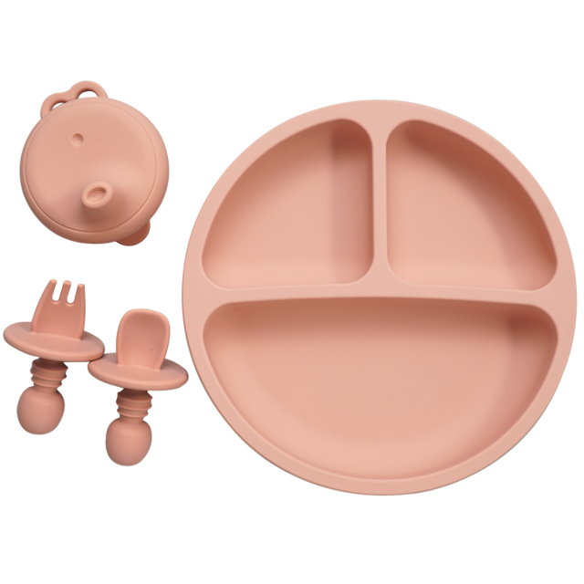 Toddler Feeding Silicone Dinner Plate,Fork,Spoon and Silicone Cup Cover
