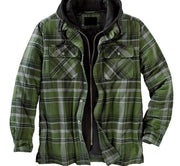Plaid Long-sleeved Hooded Jacket