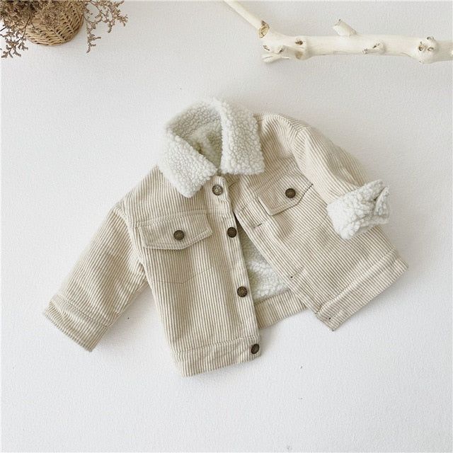 Corduroy Jacket Fur Coat 1-5Y