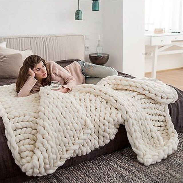 Chunky Knitted Blanket Thick Yarn
