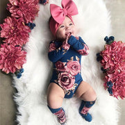 Long Sleeve Romper Large Floral Print with Socks Outfit 0-24M