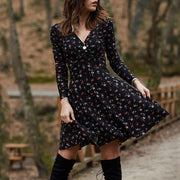 Vintage Elegant Floral Print Mini Dress 2021 Spring