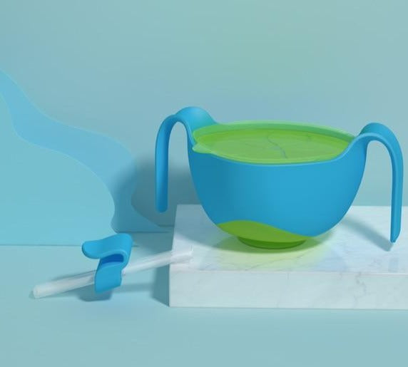 No Spill Bowls with Straw Anti-skid Sucker Bowl