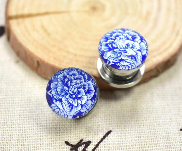 Blue and White Porcelain Tunnels and Plugs