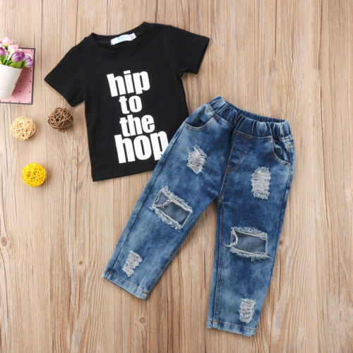 HIP TO THE HOP! T SHIRT DENIM PANTS 12M-5 YEARS