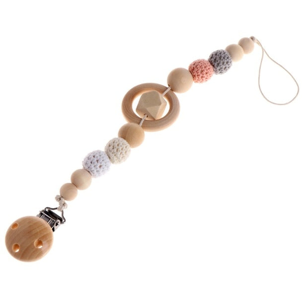 Wooden Beaded Pacifier Holder
