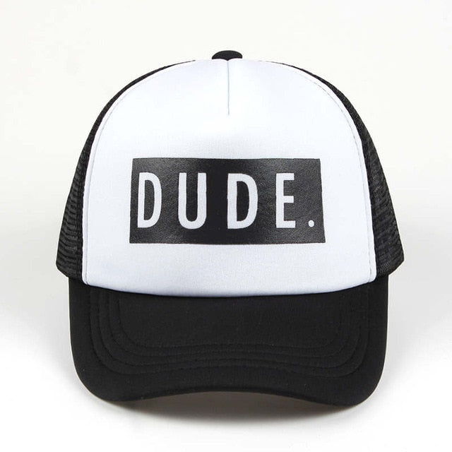 Trucker Hat DUDE Print Baseball Cap Snapback Child / Adult Mesh hat