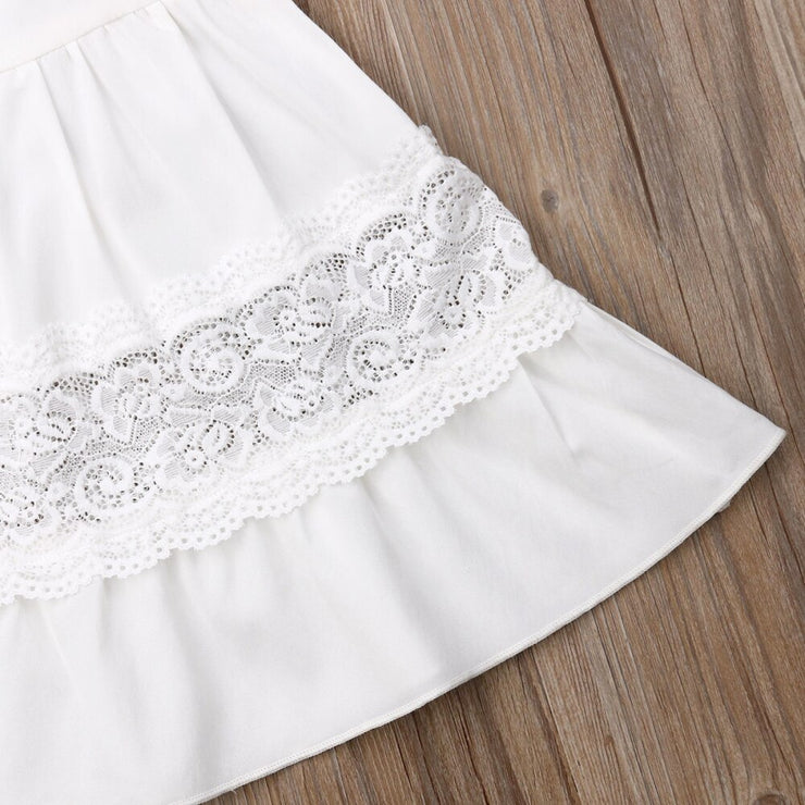 Ruffled Off the Shoulder Princess Lace Dress