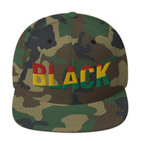 BLACK Snapback Hat with Pan-African Colors - pyerses-bookstore-and-clothing.myshopify.com