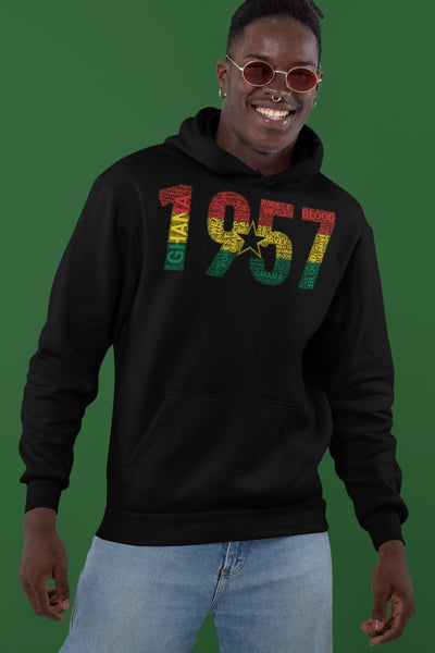 Ghana 1957 Independence National Flag Inspired Word Cluster Unisex Hoodie