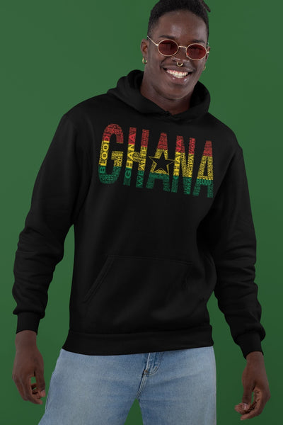 GHANA National Flag Inspired Word Cluster Unisex Hoodie